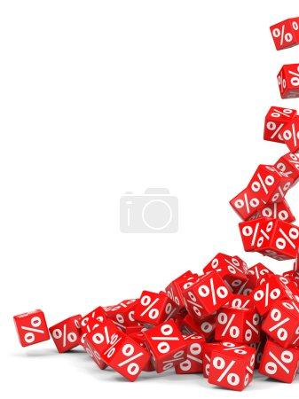 Photo pour Des cubes rouges. Illustration 3D . - image libre de droit