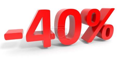 Discount 40 percent off sale.