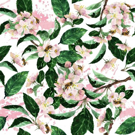 Watercolor seamless pattern - Blossom