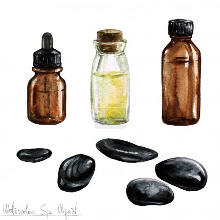 Watercolor SPA Clipart - Collection of SPA and Beauty products and elements