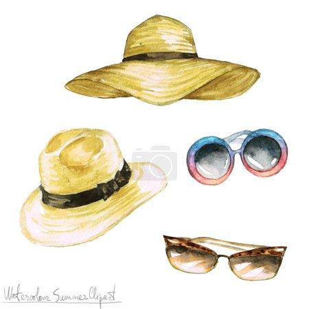 Photo pour Clipart d'été aquarelle - Chapeaux et nuances isolés sur blanc - image libre de droit
