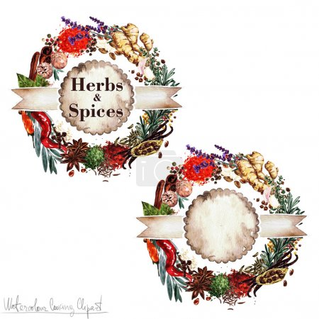 Watercolor Cooking Clipart - Set of 'Herbs and Spices' labels. Isolated