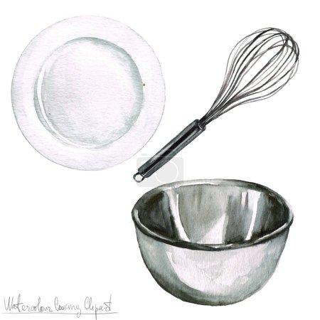 Photo pour Clipart aquarelle de cuisson - ustensiles de cuisine isolé - image libre de droit