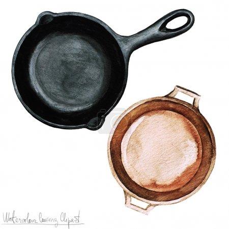 Photo pour Aquarelle Clipart de cuisson - casseroles isolé sur blanc - image libre de droit