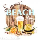 Summer Beach Party- Vector Watercolor Clipart