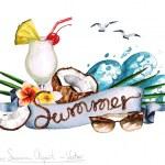 Постер, плакат: Summer Vector Watercolor Clipart