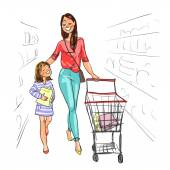 Mother and daughter shopping together