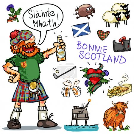 Bonnie Scotland cartoon collection, funny Scottish...