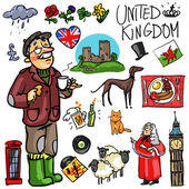 Set of cartoon hand drawn travelling attractions - United Kingdom