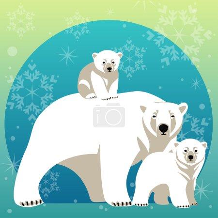 Illustration pour Carte de voeux avec famille d'ours polaires. Mère ours marche avec ses petits - image libre de droit