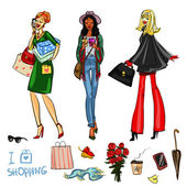 Beautiful women with shopping bags phones and coffee