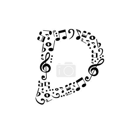 Alphabet abstrait vector - D fait de notes de musique - alphabet se