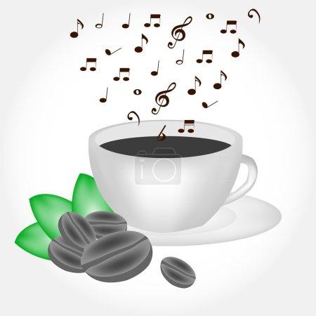 Tasse de café avec de la fumée musicale