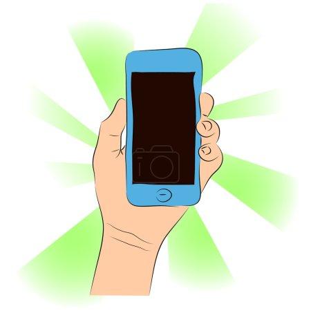 Téléphone portable (smartphone avec écran tactile) en main femelle vecteur d