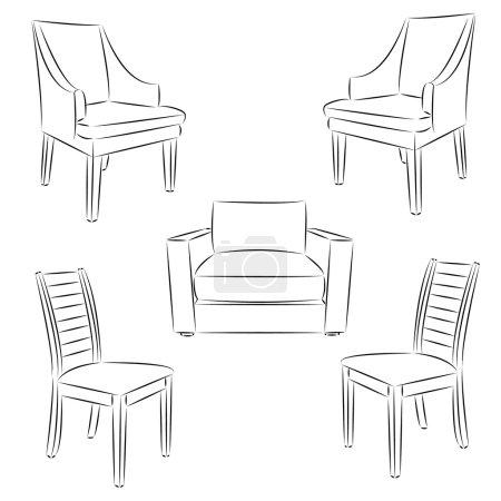 Illustration pour Icône chaise. Chaise classique contour dessin. Illustration vectorielle . - image libre de droit