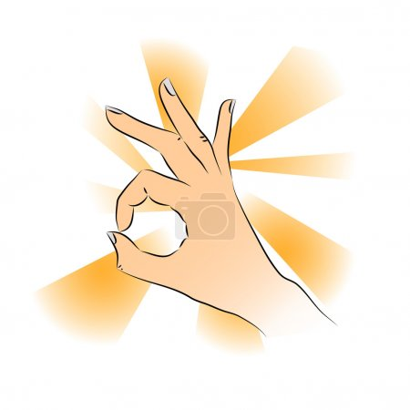 Closeup of man's hand gesturing - showing sign ok (okay)