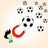 Football ball attracted with magnet magnetic field vector illustration