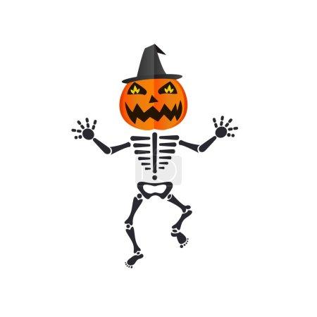 heureux squelette danse portant une citrouille