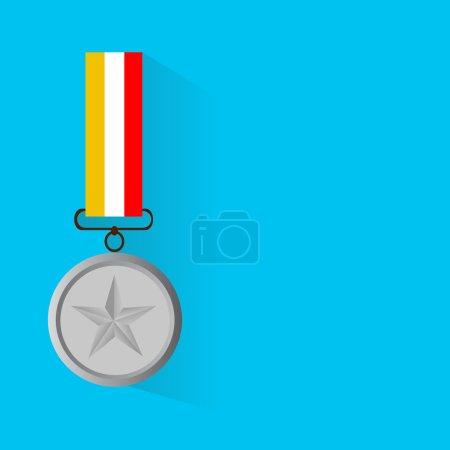 Illustration vectorielle de la médaille d'argent, design plat