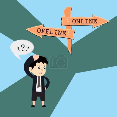 Illustration for Metaphor humour design , online vs offline - Royalty Free Image