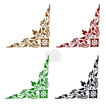 Ligne art thaïlandais modèle vector illustration