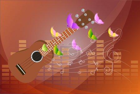 Illustration pour Illustration vectorielle d'un Ukulele avec notes de musique Contexte - image libre de droit