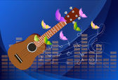 Vector illustration of an Ukulele with Music Notes Background