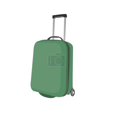 Valise bagages en plastique vert classique par voie aérienne ou routière. V
