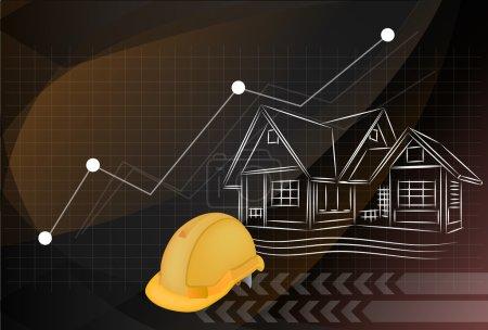 illustration, plans d'architecture et casque de protection