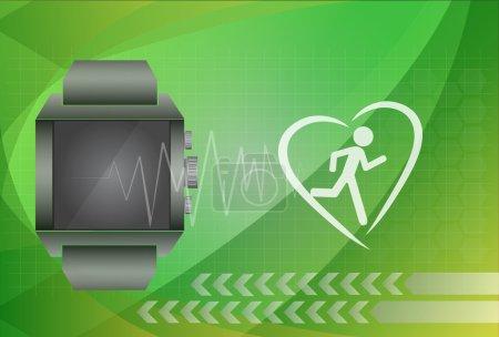 Application tracker fitness concept montre intelligente avec coeur m