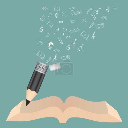 Livre noir crayon école éducation concept avec des icônes de doodle