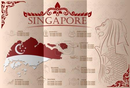 Infographie de Singapour, données statistiques, sites touristiques. Vector illustr