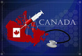 Map of Canada with Stethoscope and syringe