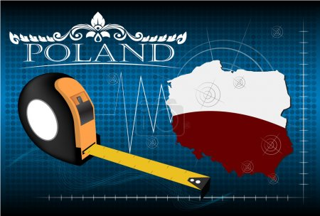 Map of Poland with ruler, vector