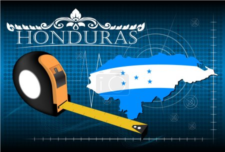 Map of Honduras with ruler, vector.