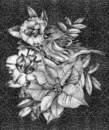 Photo pour Dessin graphique, technique du pointillisme. Bouquet floral, ikebana - image libre de droit