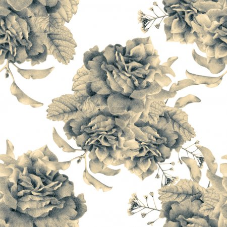 Photo pour Motif sans couture avec de belles fleurs printanières et des plantes dessinées à la main avec des crayons de couleur. Dessin au crayon. Peut être utilisé pour les garnitures de motifs, fonds d'écran, page Web, textures de surface. Noir et blanc tonique - image libre de droit