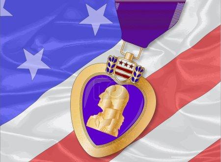 Silk Flag and Purple Heart