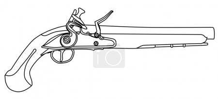 An of old style flintlock dueling pistol isolated ...
