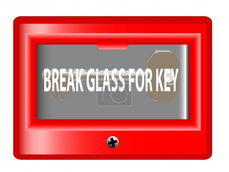 """Illustration pour Une boîte d'urgence """"break glass for key"""" sur fond blanc - image libre de droit"""