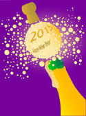 Champagne bottle being opened with froth and bubbles with a large bubble exclaiming 2013 Happy New Year