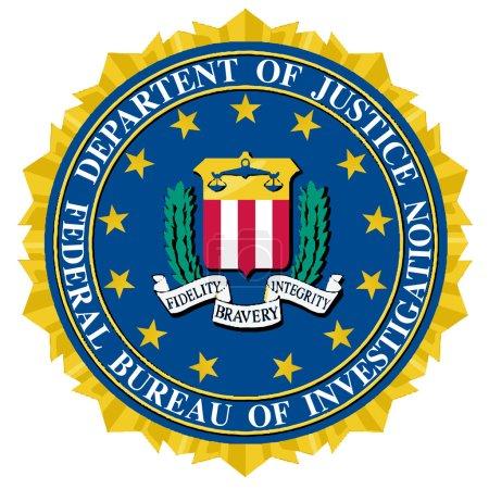 Illustration pour Le sceau du Bureau fédéral de l'information sur fond blanc - image libre de droit