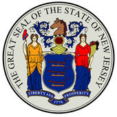 The great seal of the state of New Jersey isolated on a white background