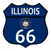 Route 66 Illinois Sign and Flag