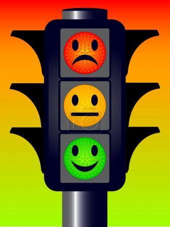 Illustration for Traffic lights with three mood faces over a red green and amber - Royalty Free Image