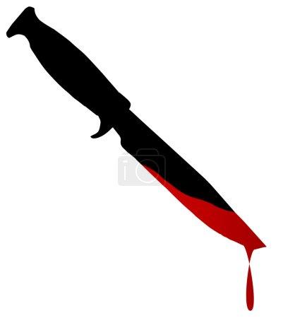 Illustration pour Silhouette d'un couteau bowie avec du sang sur blanc - image libre de droit