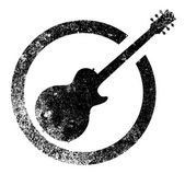 The definitive rock and roll guitar as as rubber ink stamp in black isolated over a white background