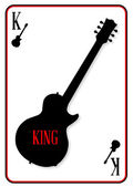 A playing card with electric guitars as the motif