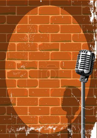Illustration for A microphone ready on stage against a brick wall with grunge - Royalty Free Image