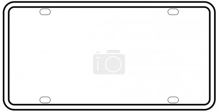 Illustration for A blank licence plate over a white background - Royalty Free Image
